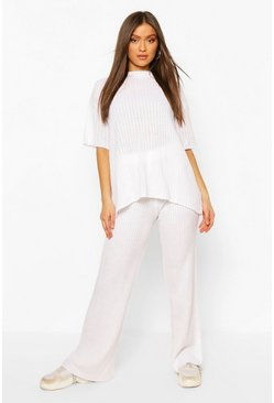 White Short Sleeve Wide Leg Knitted Lounge Set