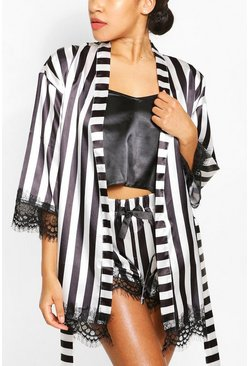 Black Satin Stripe Eyelash Lace Robe Cami and Short Set