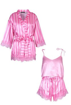 Pink Satin Stripe Eyelash Lace Robe Cami and Short Set