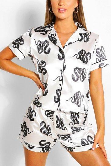 White Snake Print Satin Pyjama Short Set