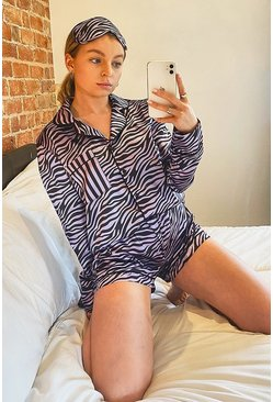 Lilac Zebra Print 5pc Piped PJ Set