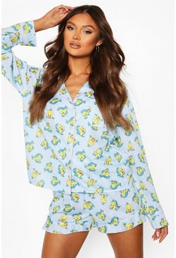 Blue Disney Flounder Jersey Button Through PJ Short Set