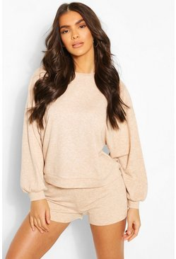 Stone Soft Marl Puff Sleeve Lounge Short Set
