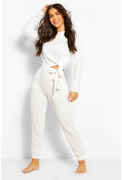 White Mix & Match Super Soft Tie Waist Lounge Joggers