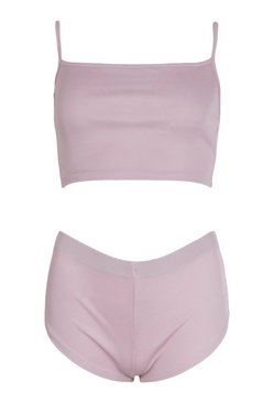 Lilac Brushed Rib Cami & Short Set