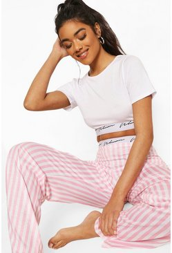 Woman Tape Candy Stripe PJ Set, Pink rosa