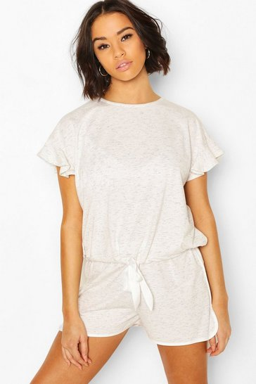 Cream white Space Dye Tie Front PJ Shorts Set