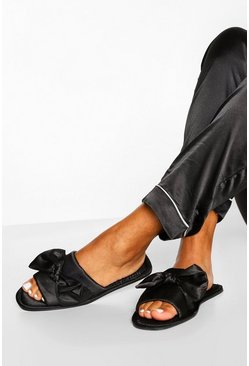 Black Knot Front Satin Slippers