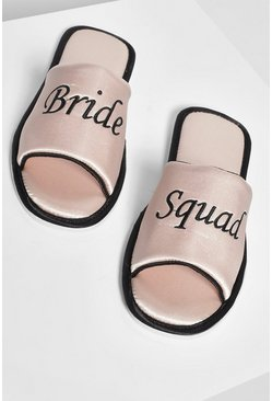 Rose gold Bride Squad Satin Slippers