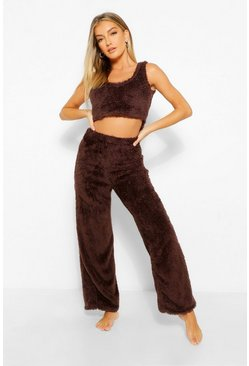 Chocolate brown Premium Fluffy Lounge Wide Leg Trouser