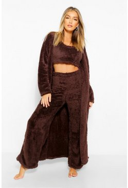 Chocolate brown Premium Fluffy Lounge Cardigan