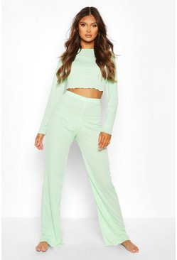Lettuce Hem Top and Wide Leg Lounge Set, Mint gerde