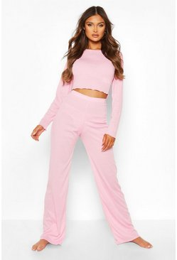 Pink Lettuce Hem Top and Wide Leg Lounge Set