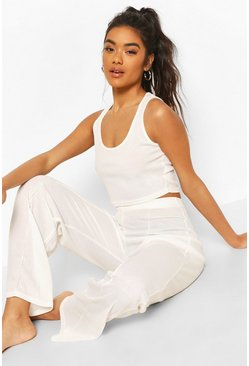 Cream white Crop Top and Wide Leg Pintuck Lounge Set