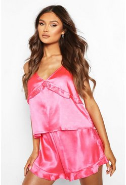 Ruffle Cami & Short Set, Hot pink rosa