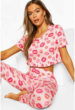 Pink Lip Print Frill PJ Trouser Set