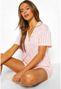 Pink Candy Stripe Jersey PJ Short Set
