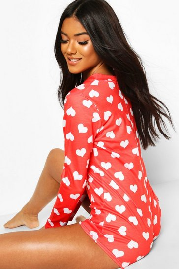 Red Heart Print Jersey Romper