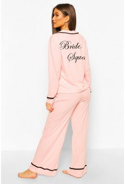 Blush pink Bride Squad Jersey PJ Set