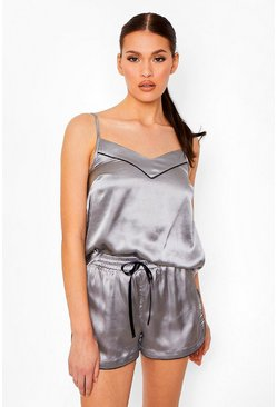 Silver Mix And Match Satin Cami Pyjama Top