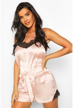 Rose gold metallic Mix & Match Lace Trim Satin Cami