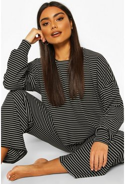 Black Stripe Jersey Lounge Trouser Pj Set