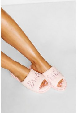 Blush pink Bridal Embroidery Slippers