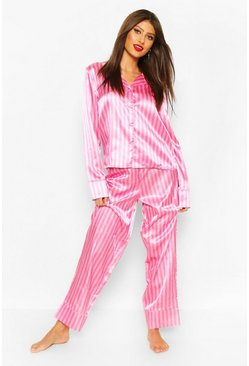 Pink Satin Stripe Trouser PJ Set
