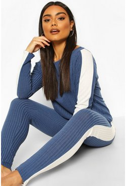 Denim-blue blue Soft Rib Side Stipe Legging Lounge Set