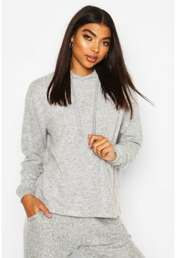 Grey Brushed Jersey Marl Lounge Hoodie