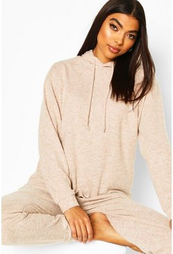 Stone beige Brushed Jersey Marl Lounge Hoodie