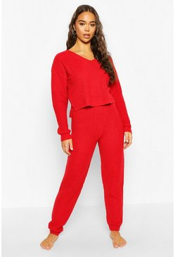 Red Cropped Knit Jumper and Jogger Lounge Sets