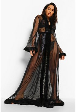 Black Premium Fluffy Trim Maxi Robe