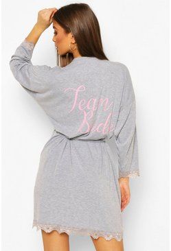 "Grey marl ""Team Bride"" Oversize morgonrock"
