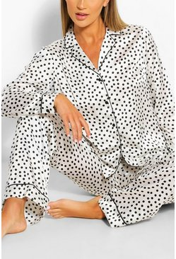 White Satin Polka Dot PJ Trouser Set