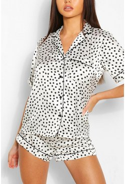 White Satin Polka Dot PJ Short Set