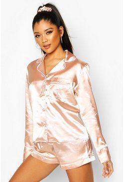 Rose gold metallic L Initial Satin 4Pc Pajama Set