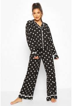 Black Polka Dot Button Through Pyjama Trouser Set