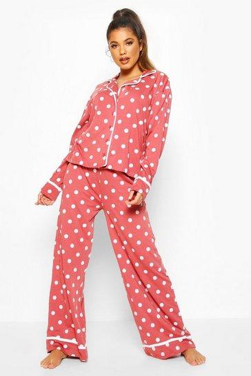 Rose pink Polka Dot Button Through Pyjama Trouser Set