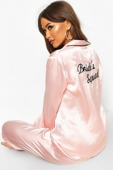 Rose gold Bride Squad Satin PJ Set