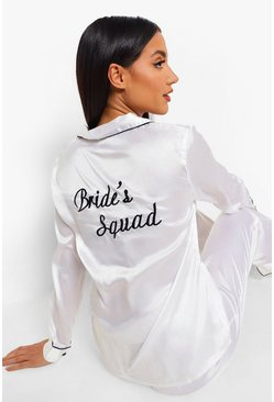 Ivory Bride Squad Satin PJ Set
