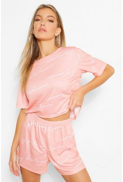 Blush pink Woman Pyjama Set Met Top Met Tekst En Shorts