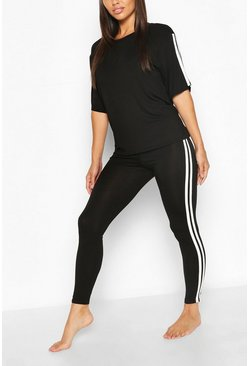 Black Side Stripe T-shirt Leggings Lounge Set