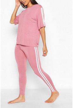 Rose pink Loungeset met leggings en T-shirt met zijstreep