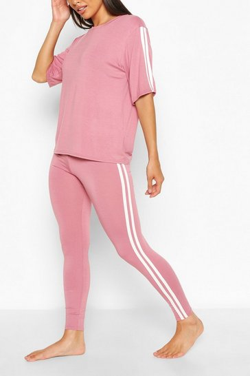 Rose pink Side Stripe T-shirt Leggings Lounge Set
