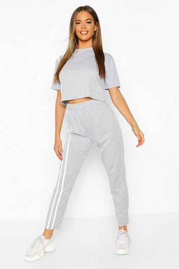 Grey marl Stripe Soft Jersey Lounge Set