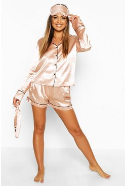 Rose gold metallic Satin 5 Piece PJ Set