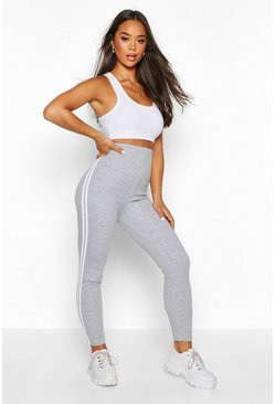 Leggings suaves a rayas laterales, Marga gris gris