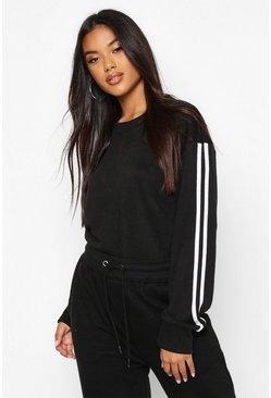 Black Side Stripe Soft lounge Sweat