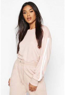 Stone beige Side Stripe Soft lounge Sweat